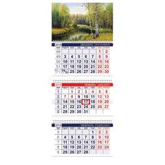 Календарь квартальный на 2019 г., HATBER, «Офис», 3-х блочный, на 3-х гребнях, «Русский пейзаж», 3Кв3гр3 18262
