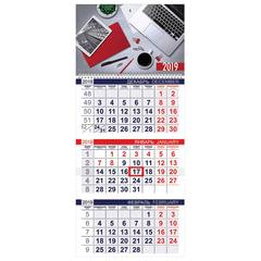 Календарь квартальный на 2019 г., HATBER, «Эконом», 3-х блочный, на 1-м гребне, «Офис», 3Кв1гр3 18628