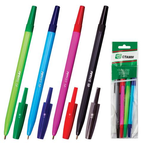 Ручки шариковые СТАММ, набор 4 шт., корпус флуоресцентный, толщина письма, 1,0 мм, ассорти
