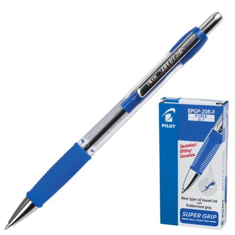 """Ручка шариковая PILOT автоматическая, BPGP-20R-F """"Super Grip"""", корпус синий, с резиновым упором и зажимом, 0,32 мм,синяя"""