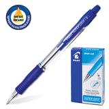 Ручка шариковая масляная PILOT автоматическая, корпус синий «SUPER GRIP» BPGP-10R-F, с резиновым упором, 0,32 мм, синяя