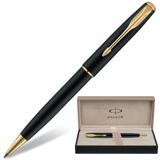Ручка шариковая PARKER «Sonnet Matte Black», корпус матовый черный, позолоченные детали
