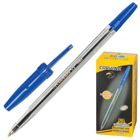 Ручка шариковая CORVINA (Италия) 51 CLASSIC, корпус прозрачный, 1 мм, 40163/<wbr/>02, синяя
