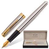 Ручка перьевая PARKER «Sonnet Stainless Steel GT», корпус серебристый, нержавеющая сталь, позолоченные детали, S0809110, черная