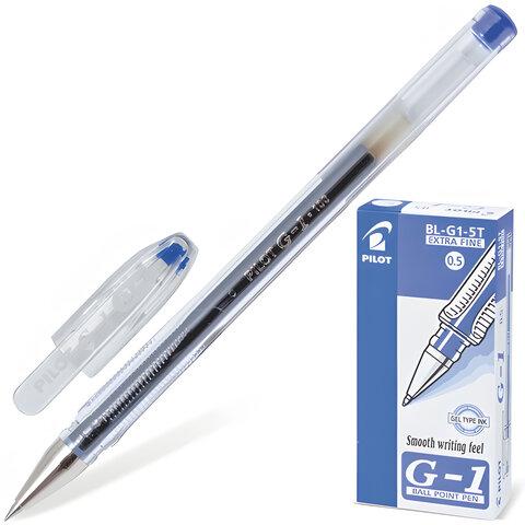 """Ручка гелевая PILOT """"G-1"""", корпус прозрачный, узел 0,5 мм, линия 0,3 мм, синяя"""