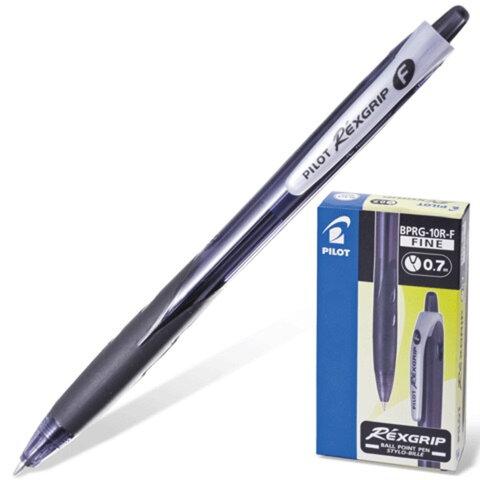 """Ручка шариковая PILOT автоматическая, BPRG-10R-F """"Rex Grip"""", корпус черный, резиновый упор, толщина письма 0,32 мм, черная"""