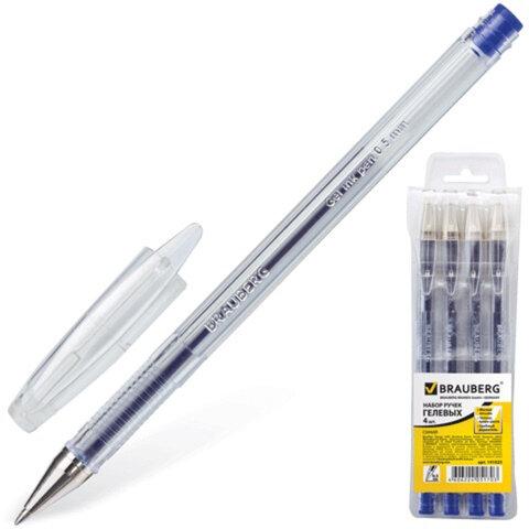 Ручки гелевые BRAUBERG «Jet» (БРАУБЕРГ «Джет»), набор 4 шт., корпус прозрачный, 0,5 мм, европодвес, синие