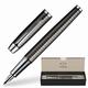 Ручка перьевая PARKER IM Premium «Dark Grey», корпус вороненая сталь, латунь, хромированные детали, S0908690, синяя