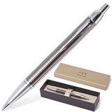 Ручка шариковая PARKER IM Premium «Dark Grey», корпус вороненая сталь, латунь, хромированные детали, S0908710, синяя