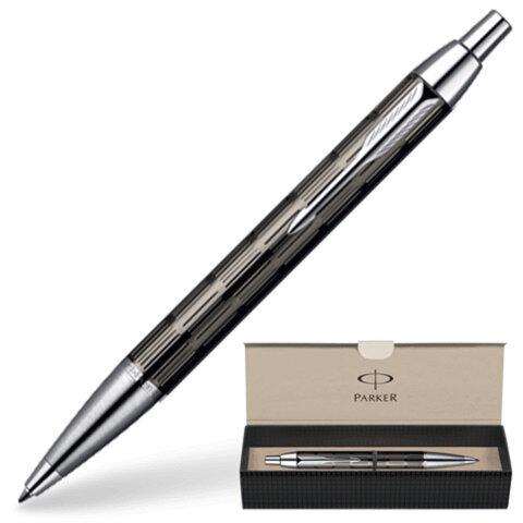 Ручка шариковая PARKER IM Premium «Точечная гравировка», корпус темно-серый, латунь, хромированные детали, S0908610