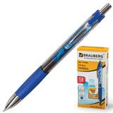 Ручка гелевая BRAUBERG «Supreme» (БРАУБЕРГ «Суприм»), автоматическая, корпус синий, толщина письма 0,5 мм, резиновый держ., синяя
