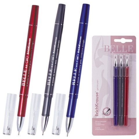 Ручки гелевые ERICH KRAUSE, набор 3 шт., «Belle Gel», блистер, (синяя, черная, красная)