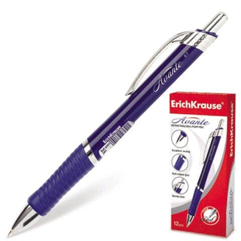 Ручка шариковая ERICH KRAUSE автоматическая «Avante», резиновый упор, толщина письма 0,7 мм, синяя