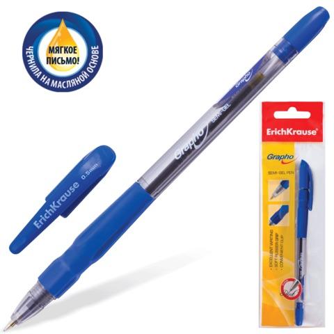 """Ручка шариковая масляная ERICH KRAUSE """"Grapho"""", корпус тонированный синий, 0,5 мм, упаковка с европодвесом, синяя"""