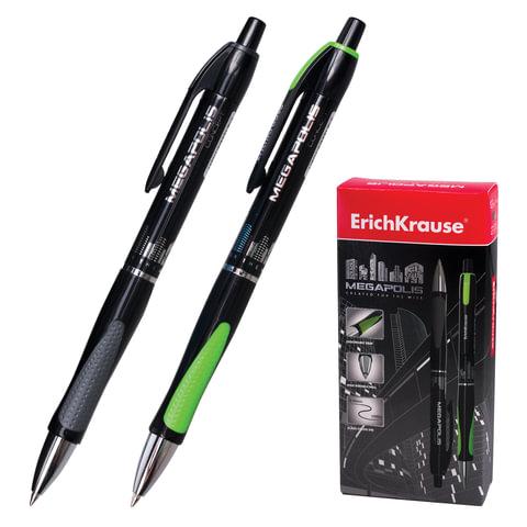 """Ручка шариковая ERICH KRAUSE автоматическая """"Megapolis Concept"""", корпус черный, 0,7 мм, черная"""