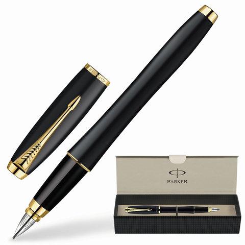 Ручка перьевая PARKER «Urban Muted Black GT», корпус черный, латунь, позолоченные детали, S0850640, синяя
