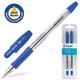 Ручки шариковые масляные PILOT, набор 2 шт., BPS-GP-F, корпус прозрачный, с резиновым упором, 0,32 мм, синие