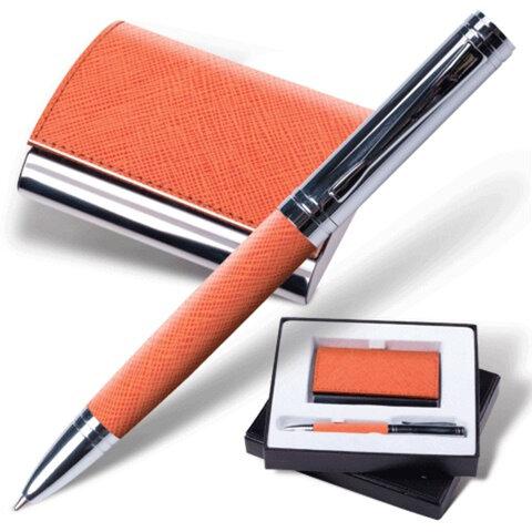 Набор GALANT «Prestige Collection»: ручка, визитница, оранжевый, «фактурная кожа», подарочная кор.