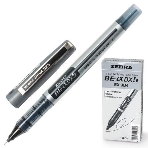 """Ручка-роллер ZEBRA """"Zeb-Roller DX5"""", корпус серебристый, толщина письма 0,5 мм, черная"""