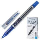 Ручка-роллер ZEBRA «Zeb-Roller DX5», корпус серебристый, толщина письма 0,5 мм, синяя