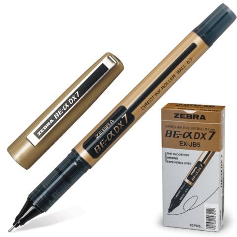 """Ручка-роллер ZEBRA """"Zeb-Roller DX7"""", корпус золотистый, узел 0,7 мм, линия 0,35 мм, черная"""