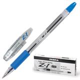 Ручка шариковая ZEBRA «Z-1», корпус прозрачный, толщина письма 0,7 мм, резиновый держатель, синяя