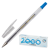 Ручка шариковая ZEBRA «The 2000metal tip», корпус прозрачный, толщина письма 0,7 мм, синяя