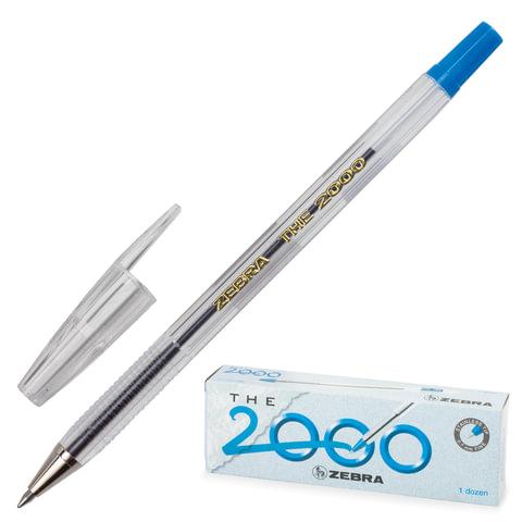 """Ручка шариковая ZEBRA """"The 2000"""", корпус прозрачный, узел 0,7 мм, линия 0,5 мм, синяя"""