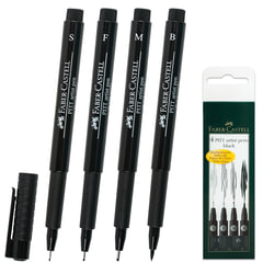 Ручки капиллярные FABER-CASTELL, набор 4 шт., «Pitt», художественные, 4 толщины линии, черные