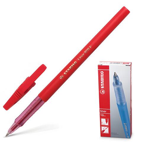 """Ручка шариковая STABILO """"Liner"""", корпус красный, толщина письма 0,3 мм, красная"""