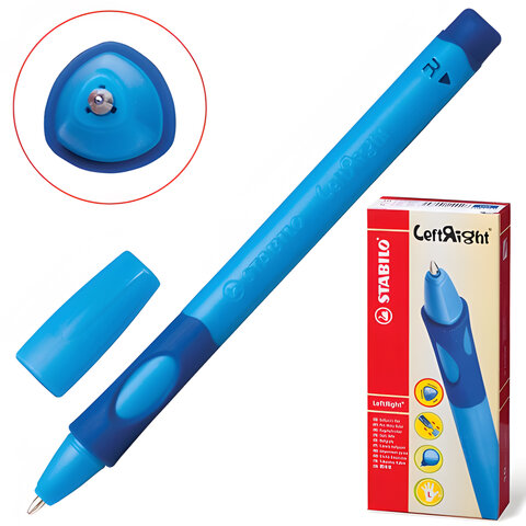 Ручка шариковая STABILO «Left Right», для правшей, корпус синий, толщина письма 0,3 мм, синяя