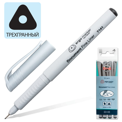 Ручки капиллярные KOH-I-NOOR, набор 4 шт., трехгранные, 0,25/0,5/0,75/1 мм, черные