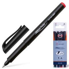 Ручки-роллеры KOH-I-NOOR, набор 4 шт., трехгранные, узел 0,5 мм, линия 0,3 мм, (синяя, черная, красная, зеленая)
