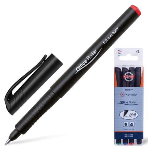 Ручки-роллеры KOH-I-NOOR, набор 4 шт., трехгранные, 0,3 мм, европодвес, синяя, черная, красная, зеленая
