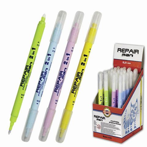 """Ручка стираемая роллер KOH-I-NOOR """"Repair Man"""", корпус ассорти, узел 0,5 мм, линия 0,3 мм, синяя"""