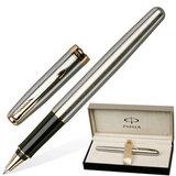 Ручка-роллер PARKER «Sonnet Stainless Steel GT», корпус нержавеющая сталь, позолоченные детали, S0809130