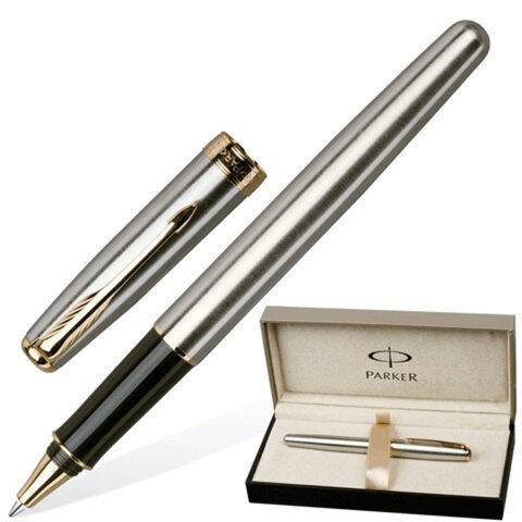 Ручка-роллер PARKER «Sonnet Stainless Steel GT», корпус серебристый, нержавеющая сталь, позолоченные детали, S0809130