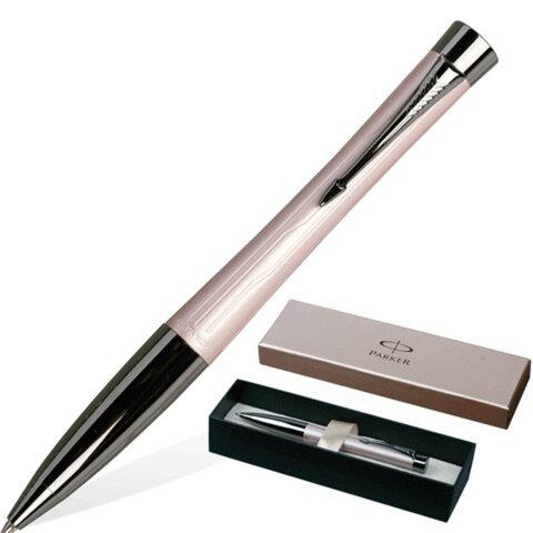 """Ручка шариковая PARKER """"Urban Premium Metallic"""", корпус розовый металлик, латунь, хромированные детали, S0949280, синяя"""