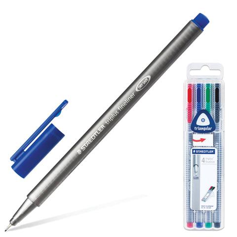 Ручки капиллярные STAEDTLER (ШТЕДЛЕР, Германия), набор 4 цв.,«Triplus», трехгранные, толщина письма 0,3 мм
