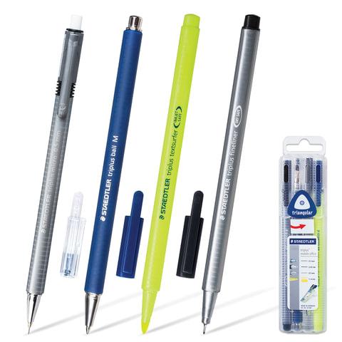 """Набор STAEDTLER (ШТЕДЛЕР, Германия) """"Triplus Mobile Office, ручка капиллярная, ручка шариковая, карандаш механический, текстмаркер"""