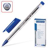 Ручка шариковая STAEDTLER (ШТЕДЛЕР, Германия) «Ball», трехгранная, корпус прозрачный, толщина письма 0,5 мм, синяя