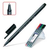 Ручки-роллеры STAEDTLER (ШТЕДЛЕР, Германия), набор 4 шт., «Triplus», трехгранные, 0,4 мм, черная, синяя, красная, зеленая