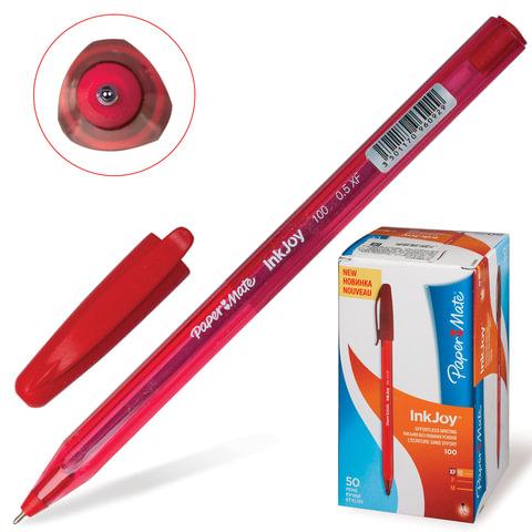 Ручка шариковая PAPER MATE «InkJoy 100 Cap», корпус красный, толщина письма 0,5 мм, красная