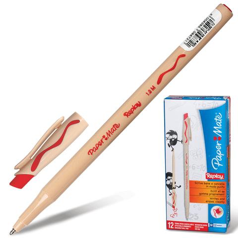 Ручка «Пиши-стирай» шариковая PAPER MATE «Replay», корпус бежевый, толщина письма 1 мм, красная