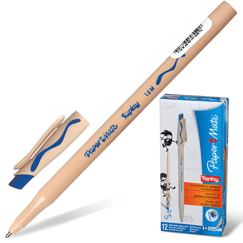 Ручка «Пиши-стирай» шариковая PAPER MATE «Replay», корпус бежевый, толщина письма 1 мм, синяя