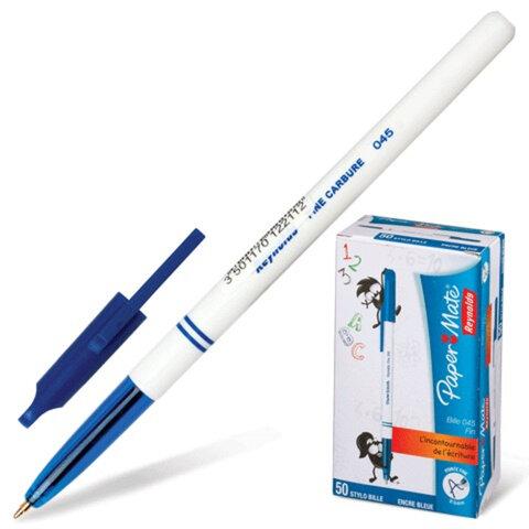 Ручка шариковая PAPER MATE «BP 045», корпус белый с синим, толщина письма 0,5 мм, синяя