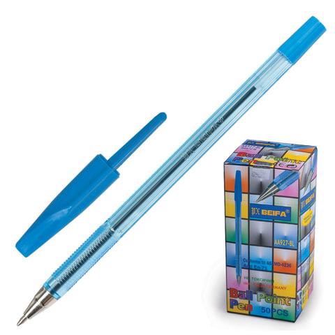 Ручка шариковая BEIFA 927, корпус прозрачный, металлический наконечник, 0,5 мм, синяя