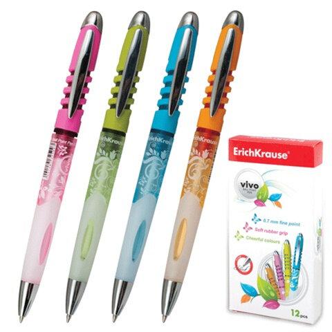 Ручка шариковая ERICH KRAUSE автоматическая «Vivo», корпус цветной, толщина письма 0,7 мм, синяя