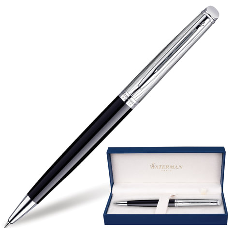 Ручка шариковая WATERMAN «Hemisphere Deluxe Black CT», корпус черный, латунь, палладиевое покрытие, S0921150, синяя