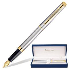 Ручка подарочная перьевая WATERMAN «Hemisphere Stainless Steel GT», серебристый корпус, позолоченные детали, синяя, S0920310